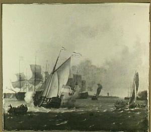 Schepen op het IJ voor Amsterdam, op de achtergrond de molen  De Bok op het bolwerk Leeuwenburg (ook wel Blauwhoofd genoemd)