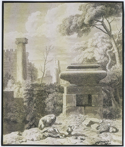 Arcadisch landschap met wenende vrouw bij een grafmonument