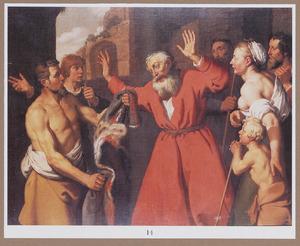 De bebloede rok van Jozef aan Jacob getoond (Genesis 37: 32-35)