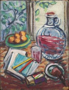 stilleven met pijp en schrijf/tekenmateriaal en wijn en fruit