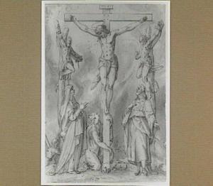 Christus aan het kruis tussen de twee moordenaars, met Maria, Johannes en Maria Magdalena
