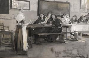 Hollands interieur met meisjes in een eetzaal