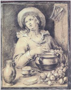 Vrouw die soep maakt, in een open venster