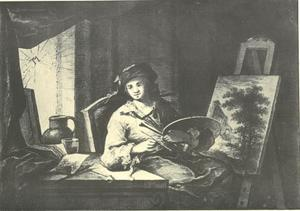 Een kunstenaar in zijn atelier