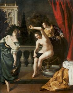 Batseba door David bespied tijdens haar toilet (2 Samuel 11:2)