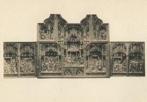 De Geboorte van Maria, de tempelgang van Maria (binnenzijde linkerluik); De annunciatie, de visitatie, het huwelijk van Maria en Jozef, de geboorte, de aanbidding van de Wijzen (middendeel); De dood van Maria, de begrafenis en tenhemelopneming van Maria (binnenzijde rechterluik)