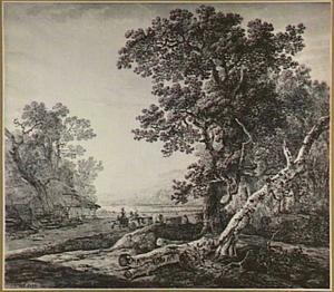 Boomrijk heuvellandschap met rivier en herders met vee bij een boerenschuur
