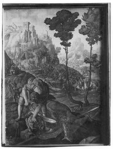 David onthooft Goliat met een zwaard  (1 Samuël 17:51)