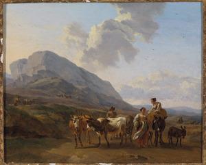 Italianiserend berglandschap met herders en vee