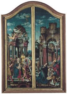De aanbidding van de Wijzen (links), de geboorte (rechts)