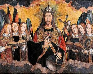 Zegenende Christus omringd door zes zingende engelen