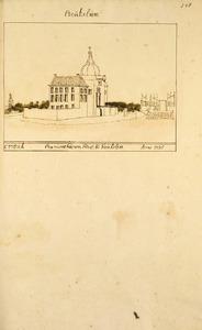 Kasteel Heukelum tijdens de herbouw van 1734-1735, vanuit het noordwesten; in het verschiet de kerktoren van Asperen