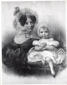 Portret van Henriette Philippina Jacoba van Kretschmar (1791-1861) met haar jonste zoon Bonifacius de Jonge ( (1834-1907)
