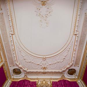 Rijk geornamenteerd stucplafond met geschilderde hoekmedaillons