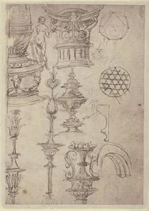 Schets met ornamentele en architecturale details, een naakte vrouw en geometrische studies