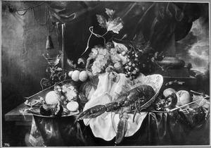Rijk stilleven met vruchten en een kreeft