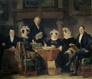 Portret van de regenten en regentessen van het Leprozenhuis te Amsterdam 1834-1835