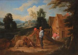 Landschap met boeren bij een slapende man