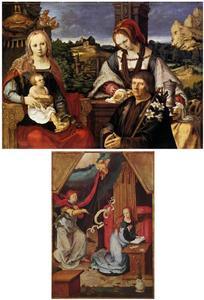 Maria met kind, de H. Maria Magdalena en de stichter; De annunciatie