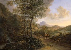 Italianiserend landschap met herders, Monte Soratte op de achtergrond