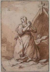 Vrouwelijke heremiet bij haar hut