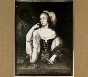Portret van Emilia van Nassau-Beverweerd (1635-1688), met een bediende