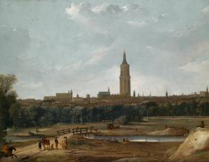 Gezicht op de Grote of St. Jacobskerk en het Binnenhof te Den Haag vanuit het westen bij het 'Kleine Veentje'