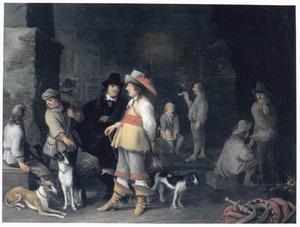 Jagers met honden in een wachtlokaal