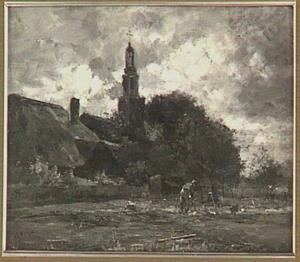 Dorpsgezicht met de kerktoren van Streefkerk