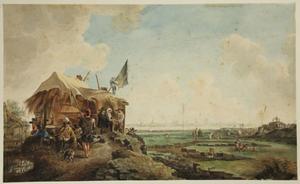 Het herstel van de Diemer- of Muiderdijk bij Amsterdam in 1651