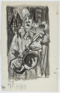 Witte clown met saxofoon