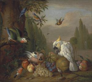 Vruchtenstilleven met een kaketoe, papegaa, Vlaamse gaai en andere vogels, in een parklandschap