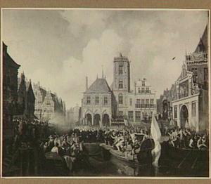 De intocht van prins Maurits te Amsterdam, met rechts de ereboog in de Rederijkerskamer (In liefde bloeyende)