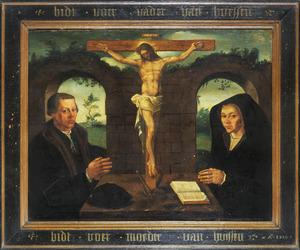 Memorietafel met dubbelportret van een man uit de familie van Huissen en zijn echtgenote