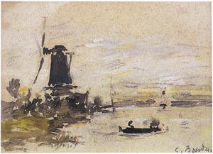 Molen in hollands rivierlandschap bij Dordrecht