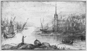 Haven en kerkgebouw bij ondergaande zon