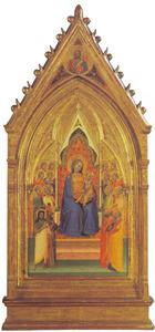Tronende Maria en kind met acht heiligen en acht engelen; Zegenende Christus (in tondo)