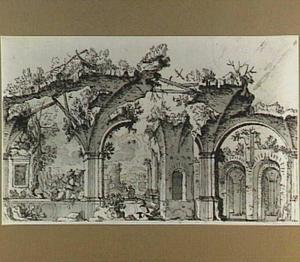 Italianiserende ruïnes met jager