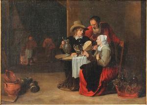 Interieur met jongeman en ouder paar aan een van brood, kaas en wijn voorziene tafel