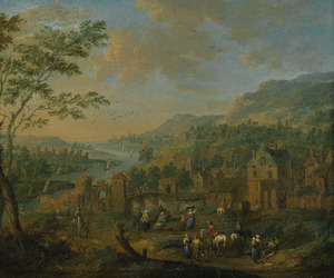 Gezicht op een stad aan een rivier, met boeren en ruiters