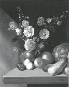 Bloemstilleven met fruit en groente