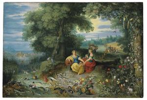 Allegorie van het water en de aarde (twee van de vier elementen)
