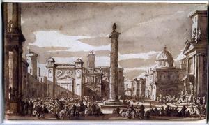 Gefantaseerd stadsgezicht met de zuil van Marcus Aurelius en andere Romeinse motieven