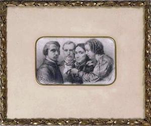 Zelfportret met zijn halfbroer Jelte Tadema (1827-?), zijn moeder Hinke Dirks Brouwer (1809-1863) en zijn zuster Artje Brouwer Tadema (1839-1875)