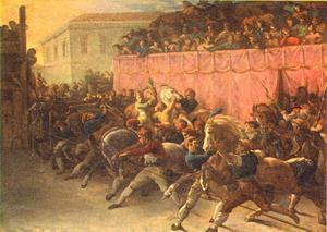 Start van de ren met onbereden paarden in Rome (Barberi ren)