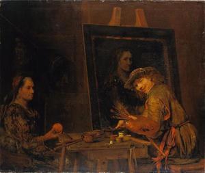 Zelfportret als Zeuxis die een vrouw met sinaasappel schildert
