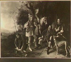 Portret van een familie, rustende na een jachtpartij