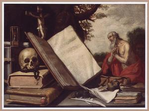 Vanitasstilleven met boeken, een schedel, een crucifix, een zandloper en andere voorwerpen; in de achtergrond de boetvaardige H. Hieronymus