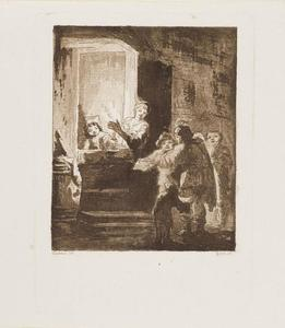 Nachtelijke scene met straatmuzikanten bij de deur van een huis