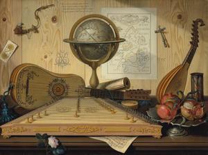 Stilleven met een psalter, een gitaar, een mandoline, een globe, met een zandloper en tinnen boord met granaatappels op een tafel, voor een muur met een kaart van Europa en andere objecten